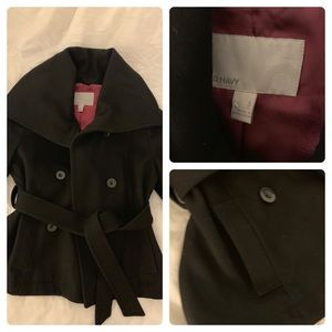 Old Navy Small Car Belted Pea Car Coat Black